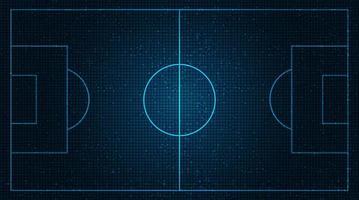 Terrain de football sur fond de technologie numérique.