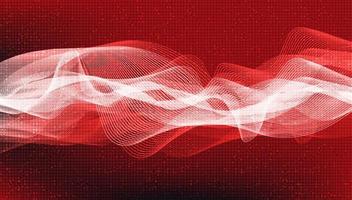 Fond d'onde sonore numérique rouge foncé. vecteur