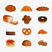 Ensemble d'icônes de boulangerie vecteur