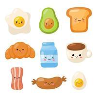 Jeu d'icônes de caractères de nourriture petit déjeuner
