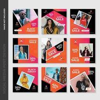 Conception de modèle de publication de médias sociaux de mode géométrique rose et orange