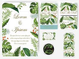Ensemble de carte et étiquette de mariage de feuilles de verdure