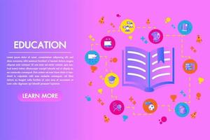 Livre ouvert de page d'atterrissage plat coloré d'éducation avec des éléments définis vecteur