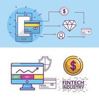 Conception de l'industrie Fintech vecteur