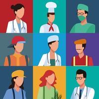 Ensemble de profil de travailleurs vecteur