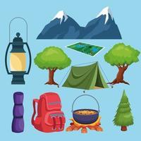 éléments de camping et dessin animé icônes paysage vecteur