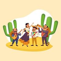 Musique mexicaine jouant dans le désert vecteur