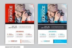 Modèle de flyer d'affaires moderne et propre rouge et bleu vecteur