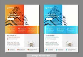 Modèles de flyers d'affaires modernes et propres orange et bleu vecteur