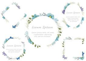 Ensemble de cadre floral aquarelle bleu isolé sur fond blanc. vecteur