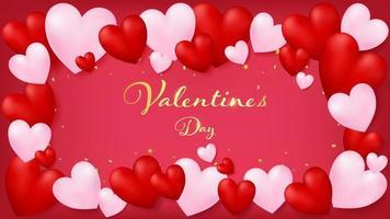 Carte d'invitation rouge arrondie par des coeurs rouges et roses doux