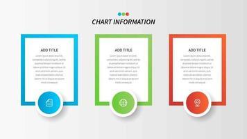 Tableau d'information de trois étapes rectangulaires avec des icônes vecteur