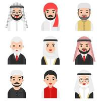 Ensemble de personnages d'hommes musulmans vecteur