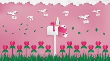 Oiseaux de la Saint-Valentin portant des cartes vecteur