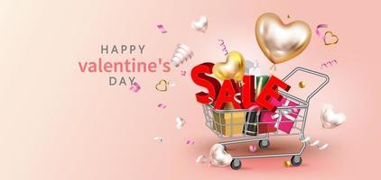 Bannière de promotion de vente Happy Valentine's Day vecteur