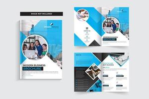 Modèle de Brochure de entreprise cyan, noir et blanc