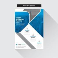 Modèle de Flyer d'affaires bleu, gris et blanc Design moderne vecteur