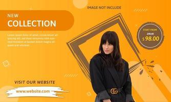 Modèle de bannière de médias sociaux. Orange et marron. vecteur
