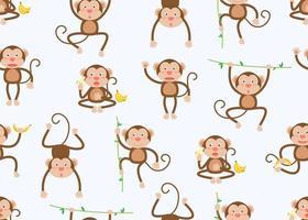 Modèle sans couture de singes sur les vignes et les bananes dans des poses différentes sur blanc