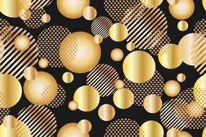 Modèle sans couture de points dorés et cercle géométrique sur fond noir