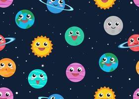 Modèle sans couture de planètes de dessin animé mignon en fond d'espace vecteur