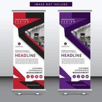 Bannière roll up moderne rouge et violet sertie de conception d'angle