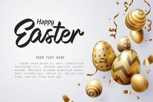 Oeuf de Pâques doré tombant et texte de Joyeuses Pâques sur fond clair vecteur