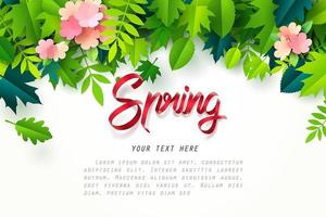 Art du papier de printemps calligraphie feuilles blanches et fleurs au-dessus vecteur