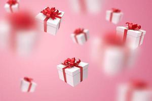Chute des coffrets cadeaux dans et hors focus sur fond rose vecteur