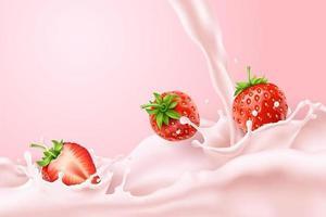 Fraises éclaboussant de lait rose vecteur