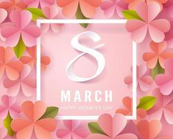 Art en papier aux tons roses du 8 mars calligraphie et fleur de la journée de la femme vecteur