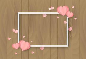 Fond en bois de Saint Valentin avec forme de coeur et cadre blanc vecteur