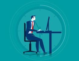 Homme affaires, travailler, heures supplémentaires, ordinateur
