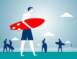Homme affaires, plage, vacances