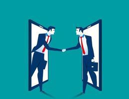 Poignée de main deux homme d'affaires hors smartphone vecteur