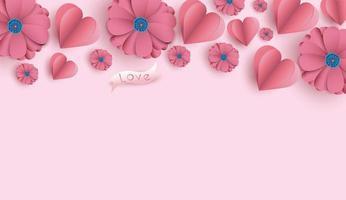 Fond de Saint Valentin avec des fleurs et des coeurs en papier découpé. vecteur