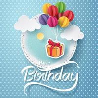 artisanat en papier de boîte-cadeau accrocher avec ballon et joyeux anniversaire vecteur