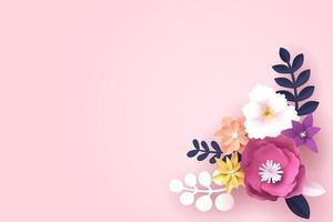 Art papier de fleur avec espace de copie pour le texte vecteur