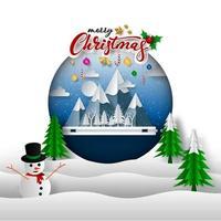 Joyeux Noël sur neige et montagne. art du papier et style d'artisanat numérique vecteur