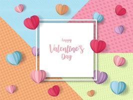 Toile de fond de vacances Saint-Valentin coeur coloré avec cadre blanc vecteur