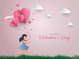 Carte de Saint Valentin heureuse. Femme qui court avec des ballons coeur.