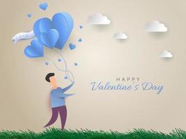 Carte de Saint Valentin heureuse. Homme qui court avec des ballons à air coeur. vecteur