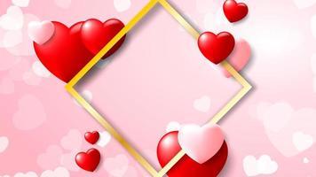 Fond coeur romantique avec cadre diamant doré vecteur