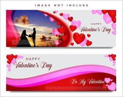 Jeu de bannière web de la Saint-Valentin vecteur