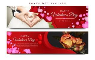 Ensemble de bannière web rouge Saint Valentin vecteur