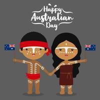 Dessin animé aborigène tenir le drapeau de l'Australie vecteur