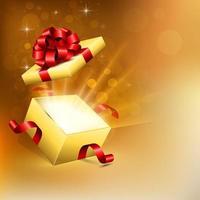 Boîte cadeau carrée ouverte avec des rayons de lumière brillants vecteur