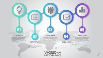 Carte du monde entreprise infographie 5 options d'étape vector illustration