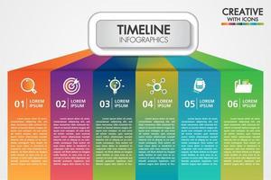 Présentation d'infographie commerciale de vecteur avec 6 étapes ou options