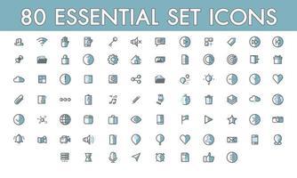 Définir la communication simple 80 icône essentielle colorline remplie symboles de contour vecteur